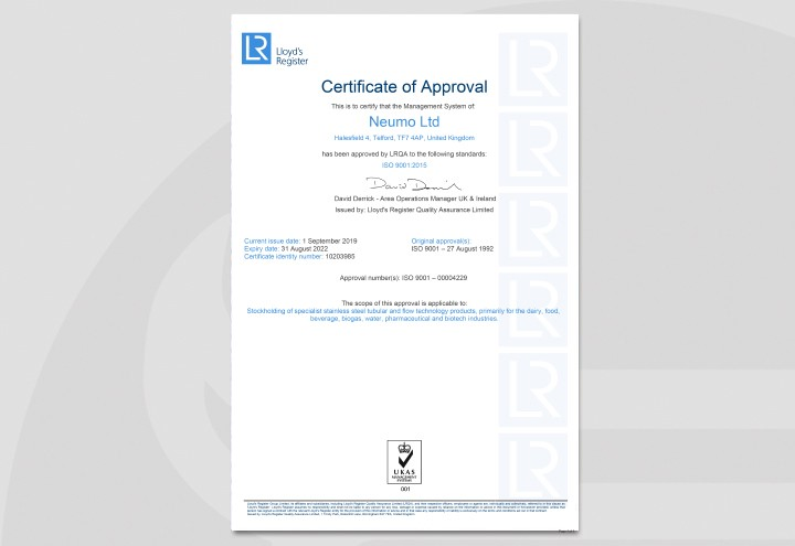 Quality management system according to LRQA ISO 9001:2015.  – Certificate 2018
